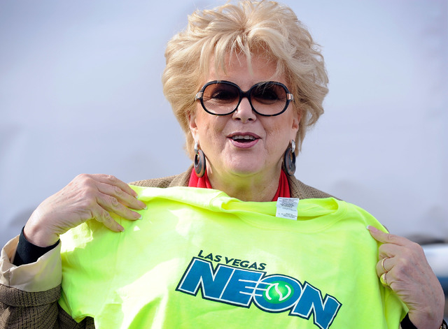 Las Vegas Mayor Carolyn Goodman displays a t-shirt during a news conference announcing Las Vegas' newest professional sports franchise at the Darling Tennis Center on Tuesday, Feb. 4, 2014. The My ...