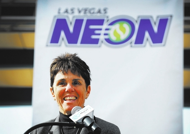 Mylan World Team Tennis CEO and commissioner Ilana Kloss speaks during a news conference announcing Las Vegas' newest professional sports franchise at the Darling Tennis Center, Feb. 4. Kloss has  ...