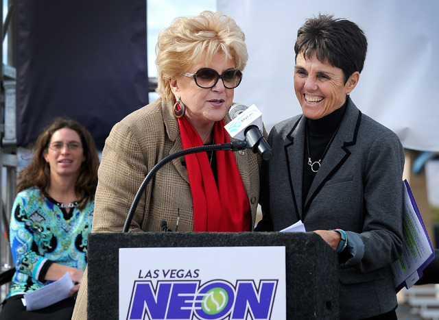 Las Vegas Mayor Carolyn Goodman, center, and Mylan World Team Tennis CEO and commissioner Ilana Kloss, right, speak during a news conference announcing Las Vegas' newest professional sports franch ...