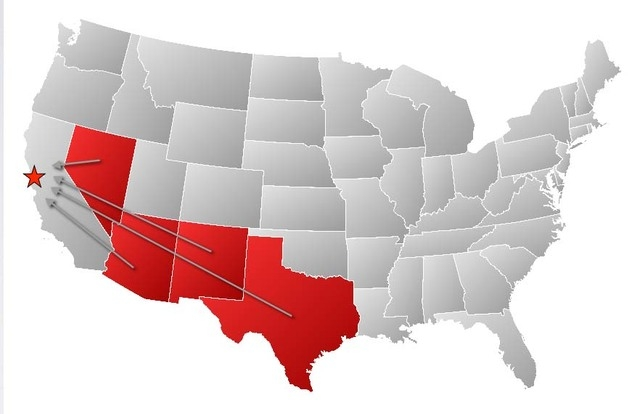 This image from teslamotors.com shows the states still in the running for a $5 billion factory that would manufacture batteries for Tesla electric cars. (Courtesy, Tesla)