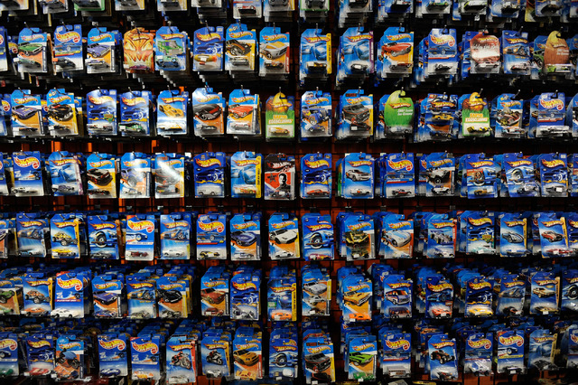 Hot Wheels toy cars are displayed at the Toy Shack at the Neonopolis downtown. Hot Wheels will be one of the many playthings on display at the World of Toys Expo at the Plaza. The 1:64-scale dieca ...