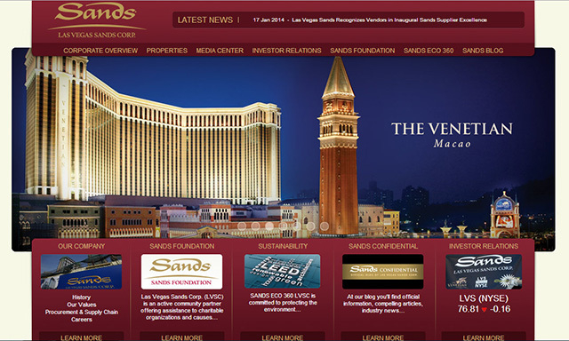 A screenshot of the Venetian's website on the morning of Feb. 11. (Las Vegas Review-Journal)