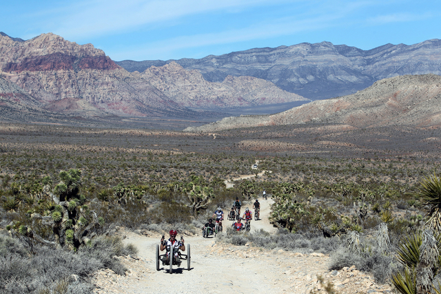 Nate DeWalt leads a group of injured veterans through Red Rock Canyon near Blue Diamond during the Ride 2 Recovery Las Vegas Mountain Bike Challenge Monday, Jan. 27, 2014.  (K.M. Cannon/Las Vegas  ...