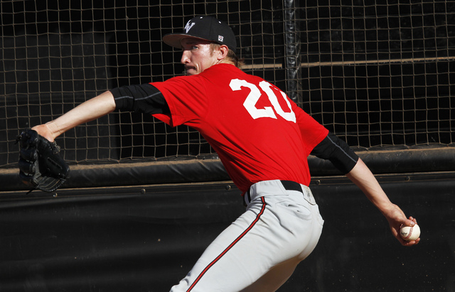 UNLV junior right-hander Erick Fedde, shown Tuesday, went 7-3 with a 3.92 ERA last season and is expected to anchor the rotation. (Jason Bean/Las Vegas Review-Journal)