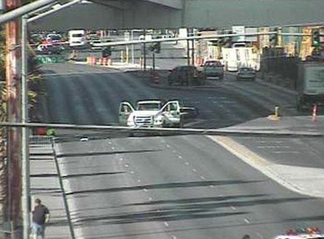 A traffic camera photo shows a truck at the site of an auto-pedestrian accident near Flamingo Road and Linq Lane on Tuesday morning. (Courtesy/Nevada Department of Transportation)