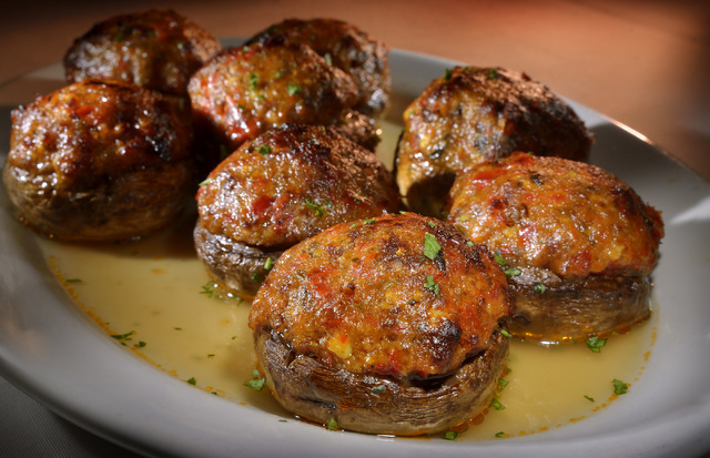 The stuffed mushrooms are shown at Carmine's in the Forum Shops at Caesars Palace at 3500 Las Vegas Blvd., South, in Las Vegas on Thursday, Jan. 30, 2014. (Bill Hughes/Las Vegas Review-Journal)