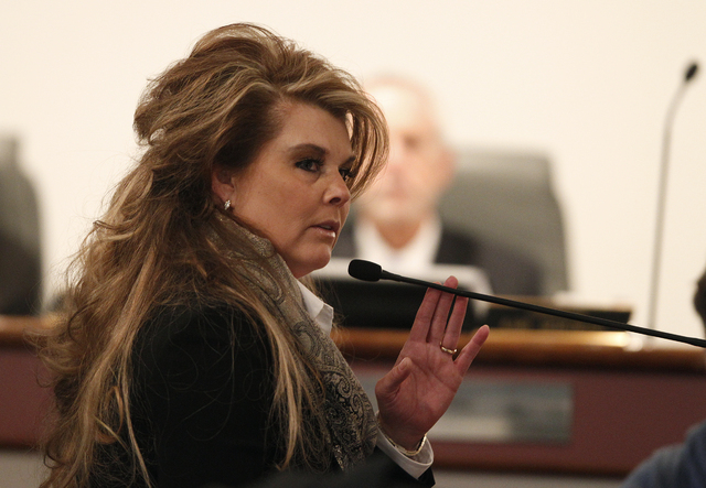 Lisa Willardson is shown here during testimony at the disciplinary hearing of Family Court Judge Steven Jones at the Las Vegas Convention Center in Las Vegas Wednesday, Dec. 4, 2013. Willardson wa ...