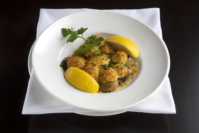 The stuffed mushrooms dish as served at N9NE Steakhouse located in The Palms hotel-casino in Las Vegas on Wednesday, Jan. 29, 2014. (Jeferson Applegate/Las Vegas Review-Journal)