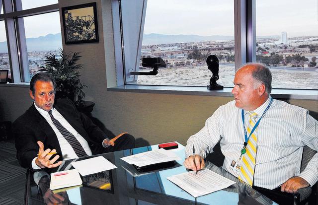 North Las Vegas Mayor John Lee, left, and acting Director of Finance Darren Adair speak with the Review-Journal in Mayor Lee's office at North Las Vegas City Hall on Jan. 7. (Jason Bean/Las Vegas  ...