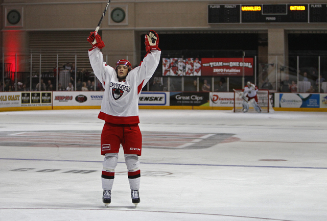 Anthony Perdicaro of the Wranglers celebrates after scoring against the Ontario Reign during their hockey game at the Orleans Arena in Las Vegas Saturday, Jan. 4, 2014.  (John Locher/Las Vegas Rev ...