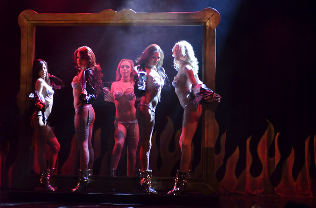 "Cast members from ""X Burlesque"" perform in the X Showroom at the Flamingo hotel-casino at 3555 Las Vegas Blvd., South, in Las Vegas on Thursday, Feb. 13, 2014. The dancers are, from left ..."