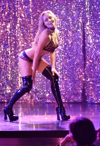 "Whitney Giron performs during ""X Burlesque"" in the X Showroom at the Flamingo hotel-casino at 3555 Las Vegas Blvd., South, in Las Vegas on Thursday, Feb. 13, 2014. (Bill Hughes/Las Vegas ..."