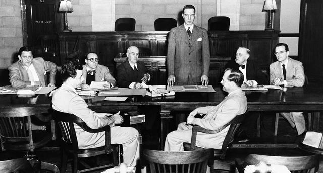 Sen. Estes Kefauver, D-Tenn., standing, chairman of Senate Crime Investigating Commission, open ...
