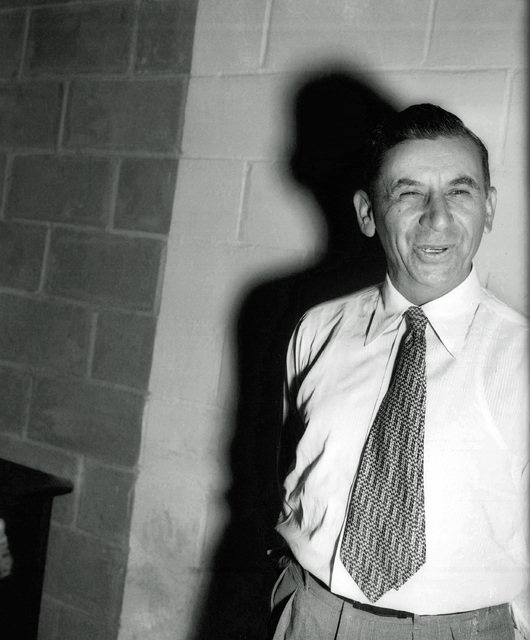 Reputed mobster Meyer Lansky of New York City appears after surrendering in Ballston Spa, N.Y., ...