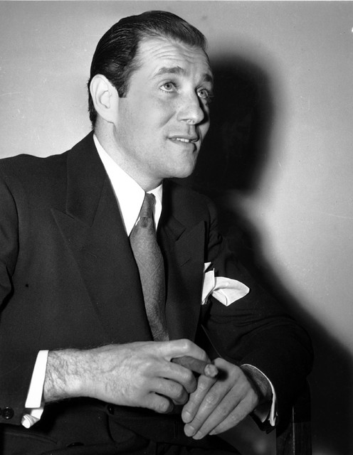 """Benjamin """"Bugsy"""" Siegel poses after apprehension in Los Angeles on April 17, 1941 in ..."""