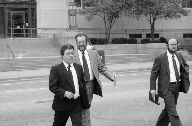 Las Vegas's Anthony J. Spilotro, left, leaves the Kansas City, Missouri Federal Courthou ...