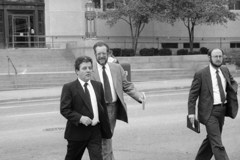 Las Vegas's Anthony J. Spilotro, left, leaves the Kansas City, Missouri Federal Courthou ...