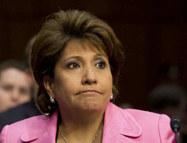 """This April 22, 2013 file photo shows Janet Murguia, president and CEO, National Council of La Raza, on Capitol Hill in Washington. Murguia called President Barack Obama the """"deporter in chief,"""" de ..."""