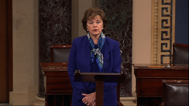 This video framegrab from Senate Television shows Senate Intelligence Committee Chair Sen. Dianne Feinstein, D-Calif. speaking on the floor of the Senate on Capitol Hill in Washington, Tuesday, Ma ...