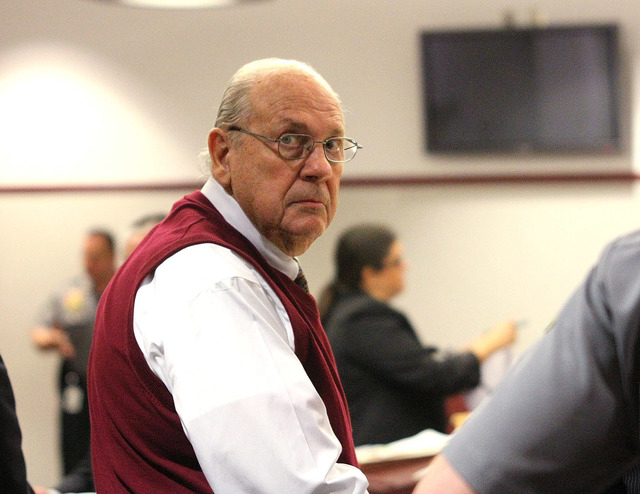 Curtis Reeves looks into the gallery in this Feb. 5 photo taken during a court bond hearing in Dade City, Fla. Records show that a Reeves who reportedly shot a man in a movie theater because he wa ...