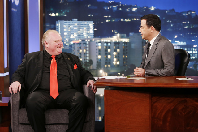 "This March 3, 2014 file image released by ABC shows Toronto Mayor Rob Ford, left, with host Jimmy Kimmel on the late night talk show ""Jimmy Kimmel Live,"" in Los Angeles. Ford is claiming he wouldn ..."