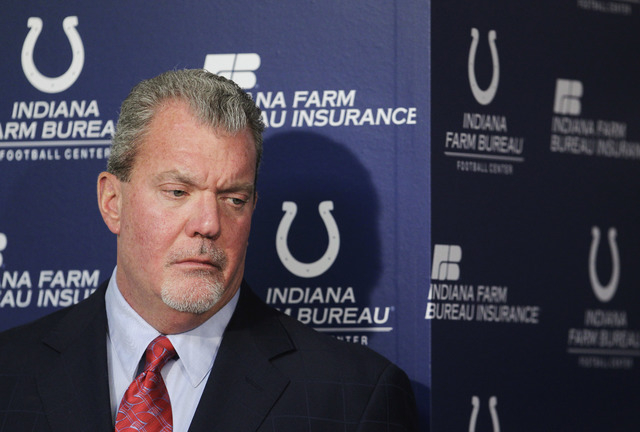 Indianapolis Colts owner Jim Irsay listens during a Jan. 17, 2012, news conference at the NFL football team's headquarters in Indianapolis. Authorities say Irsay is in jail after being stopped on  ...