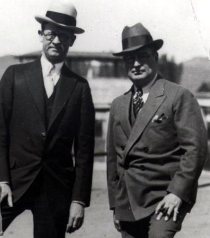 This undated photo shows Reno businessmen William Graham, left, and James McKay, who were facing federal mail fraud charges in 1934. Reno bank cashier Roy Frisch was to testify in their trial when ...