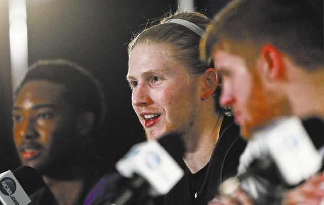 Stephen F. Austin forward Jacob Parker talks about his team's third-round game Sunday against UCLA in the NCAA college basketball tournament, at a news conference Saturday, March 22, 2014, in San  ...