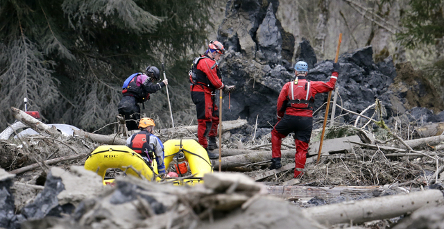 Searchers in boats and on foot look through debris following a deadly mudslide Tuesday, March 25, 2014, in Oso, Wash. At least 14 people were killed in the 1-square-mile slide that hit in a rural  ...