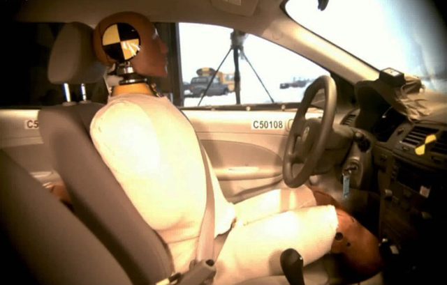 This undated image taken from video shows the National Highway Traffic Safety Administration ( NHTSA) crash test of a  2005 General Motors Cobalt. For years, the U.S. governments auto safety watch ...