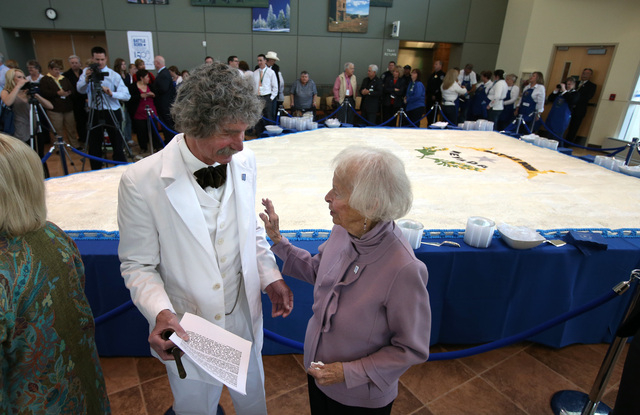 Mark Twain, portrayed by McAvoy Layne, and Kay Winters talk before the Battle Born Birthday Cake Celebration at the Carson Tahoe Regional Medical Center, in Carson City, Nev., on Friday, March 21, ...