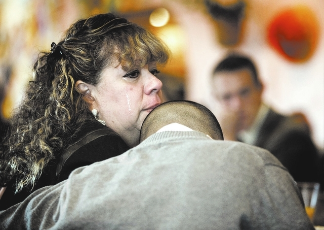 Thelma Martinez Soto, left, hugs her son Bryan Rivera,20, after he spoke during the Hispanics in Politics breakfast at Dona Maria Tamales Mexican Restaurant, 910 S. Las Vegas Boulevard on Wednesda ...
