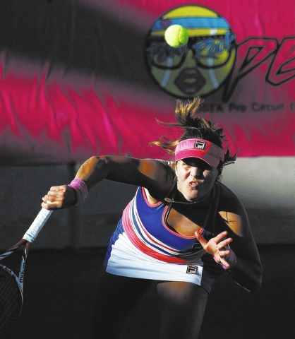 Anna Tatishvili serves against CoCo Vandeweghe during their semi-final match of the Party Rock Open at the Darling Tennis Center in Las Vegas on Sept. 28, 2013. (Jason Bean/Las Vegas Review-Journal)