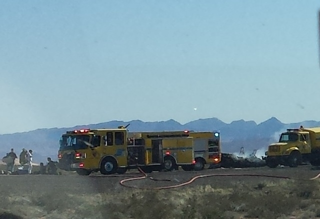 Interstate-15 northbound to Mesquite is closed near Logandale due to a semi-truck fire, according to the Nevada Department of Transportation. (Graydon Johns/Las Vegas Review-Journal)