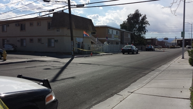 Pictured here is the crime scene where neighbors heard yelling and gunshots moments later, in the 200 block of New York Avenue near Industrial Road. (Kimber Laux/Las Vegas Review-Journal)