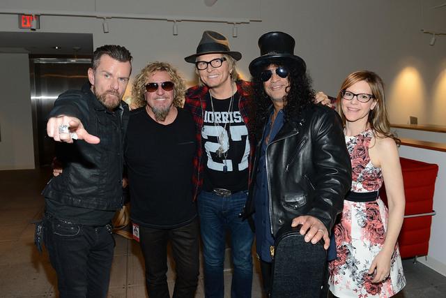 "Billy Duffy, Sammy Hagar, Matt Sorum, Slash and Lisa Loeb during the Kerry Simon ""Simon Says Fight MSA"" benefit concert at the Keep Memory Alive Center in Las Vegas on February 27, 2014 in Las Veg ..."
