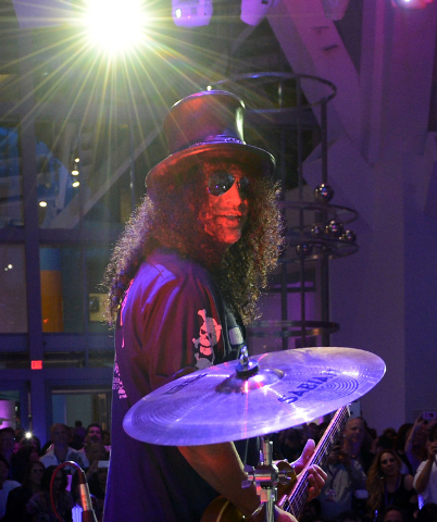 "Slash performs during the Kerry Simon ""Simon Says Fight MSA"" benefit concert at the Keep Memory Alive Center in Las Vegas on February 27, 2014 in Las Vegas, Nevada.  (Photo by Denise Truscello/Wir ..."