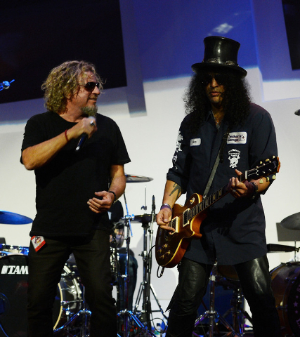 "Sammy Hagar and Slash perform during the Kerry Simon ""Simon Says Fight MSA"" benefit concert at The Keep Memory Alive Center in Las Vegas on February 27, 2014 in Las Vegas, Nevada.  (Photo by Denis ..."