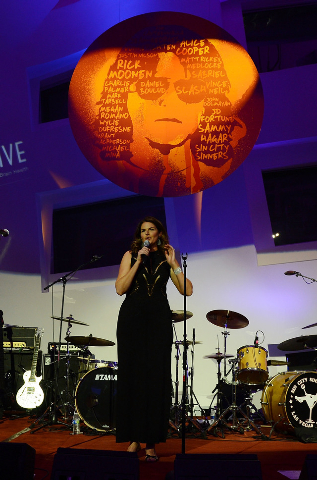 "Elizabeth Blau speaks during the Kerry Simon ""Simon Says Fight MSA"" benefit concert at The Keep Memory Alive Center in Las Vegas on February 27, 2014 in Las Vegas, Nevada.  (Photo by Denise Trusce ..."