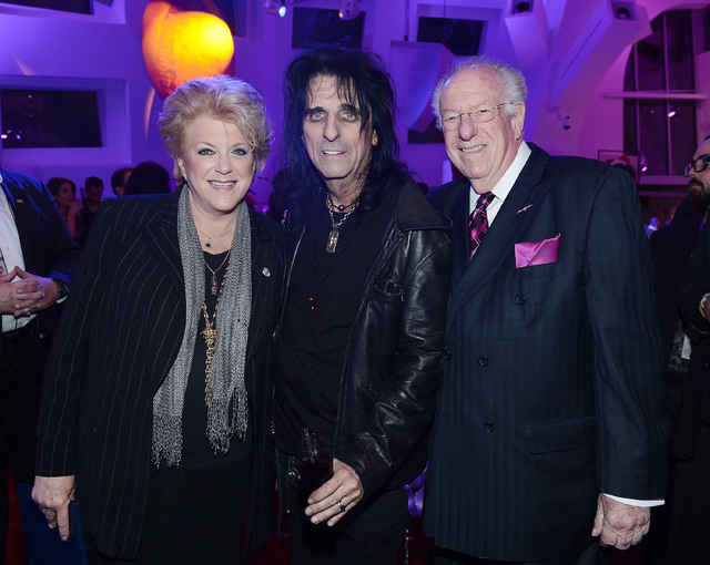"Las Vegas Mayor Carolyn G. Goodman (L) and former Las Vegas Mayor Oscar Goodman (R) pose for a photo with Alice Cooper during the Kerry Simon ""Simon Says Fight MSA"" benefit concert at The Keep Mem ..."