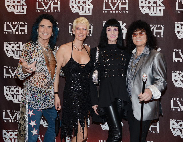"Robin McAuley, Carmen Shortino and Paul Shortino arrive at media night for ""Raiding the Rock Vault"" at the LVH. (Photo by Denise Truscello/WireImage)"
