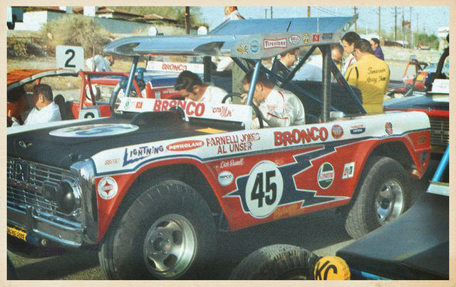 This is the Ford Bronco that Parnelli Jones, right, and Al Unser, left, drove in the 1971 Mint 400. They wrecked it. Then they got into Bobby Unser's car and wrecked it, too. (Courtesy)