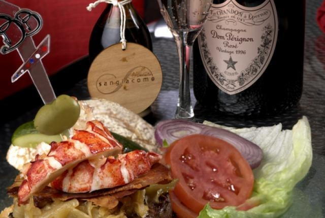 The $777 Kobe Beef and Maine Lobster Burger is the signature dish at the Burger Brasserie in the Paris. (File photo)