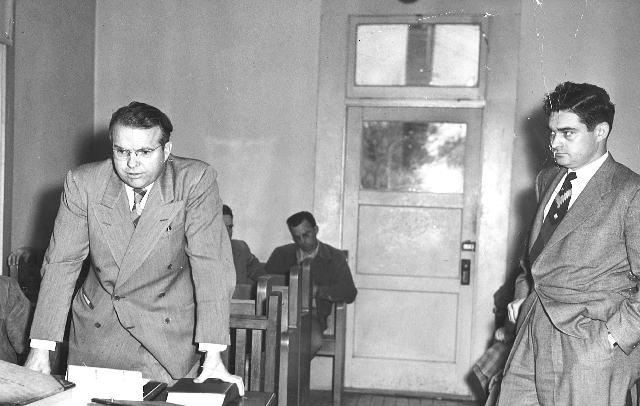 John W. Bonner, left, argues a point to a judge in this 1950 photo, taken in the old Clark County Courthouse in downtown Las Vegas.