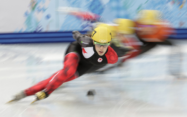 This Feb. 21, 2014 file photo shows Valerie Maltais of Canada competing in a women's 1000m short track speedskating quarterfinal at the Iceberg Skating Palace during the 2014 Winter Olympics in So ...