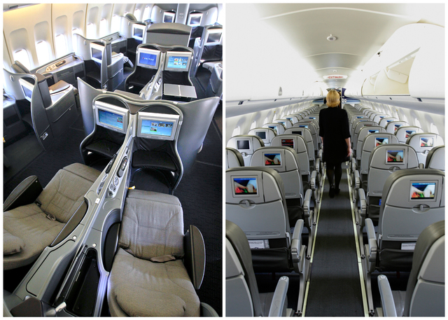 This combination of Associated Press file photos show, on the left, a first class interior section of a United Airlines 747 plane at San Francisco International Airport in San Francisco in 2011, a ...