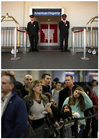 This combination of Associated Press file photos, shows, at top, American Airlines skycaps Alex Abel Gonzalez, left, and Frederick Pearson waiting outside the AA Flagship lounge at Los Angeles Int ...