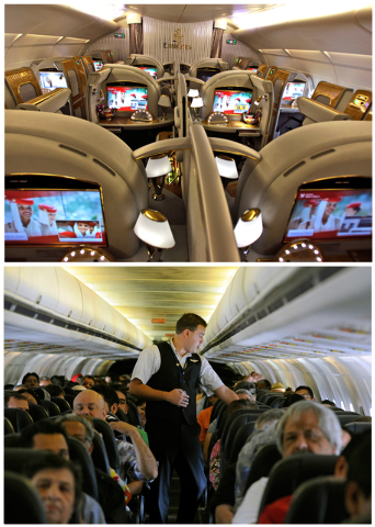 This combination of Associated Press file photos show, on top, the first class section of an Emirates airlines Airbus A380 at the new Concourse A of Dubai airport in Dubai, United Arab Emirates in ...