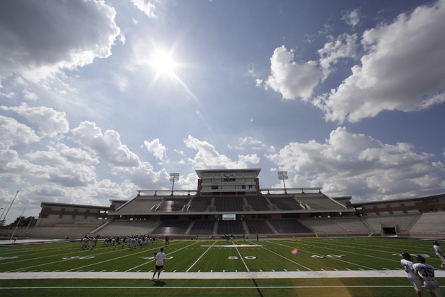 FILE - This Aug. 28, 2012 file photo shows Eagle Stadium at Allen High School in Allen, Texas. The $60 million high school stadium that got national attention for its grandeur _ and its price tag  ...