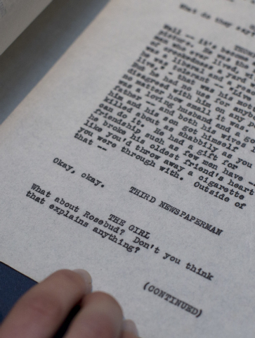 The last page, in this version of the incomplete script, with the last lines of the then originally titled 'American' or as it is now known 'Citizen Kane' which was Orson Well working copy of the  ...
